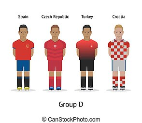 Players kit. Football championship in France 2016. Group D - Spain, Czech Republic, Turkey, Croatia