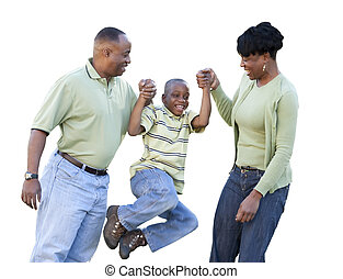 Playful African American Man, Woman and Child Isolated on a White Background.