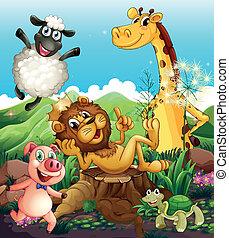 Playful animals - Illustration of the playful animals