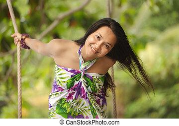 playful asian woman