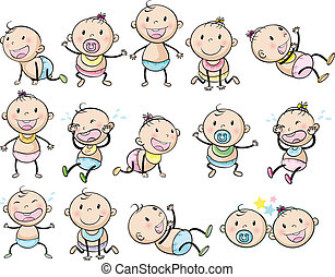 Playful babies - Illustration of the playful babies on a...