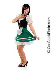 Beautiful Woman Wearing A Traditional Costume For St Patrick's Day And Oktoberfest