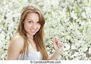 Playful blond woman