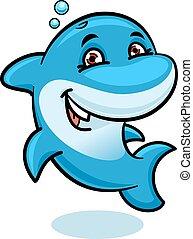 Playful cartoon blue atlantic bottlenose dolphin