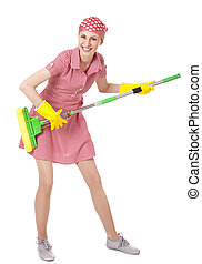Playful charwoman with mop on white - Playful charwoman with...