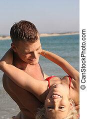 Playful couple enjoying