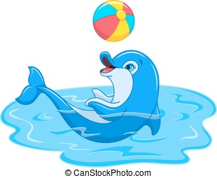 Playful Dolphin - Illustration of cute Dolphin playing with ...