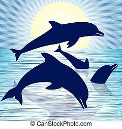 Playful dolphins - Illustration of four dolphins playing in...