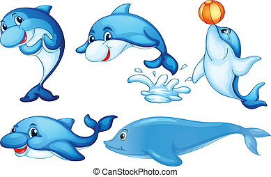 Playful dolphins - Illustration of the playful dolphins on a...
