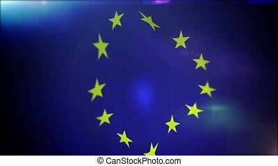 """Playful European Union Flag Flappering"" - ""Cheerful 3d..."