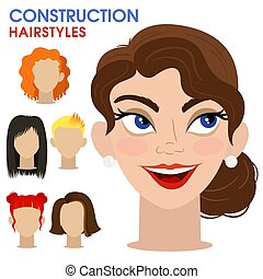 Playful girl. Woman face constructor. Cartoon style.