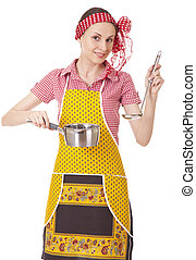 Playful housewife with ladle and pan on white background