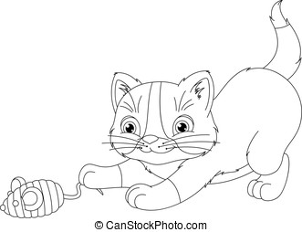 Playful Kitten Coloring Page - Image of kitten playing with...