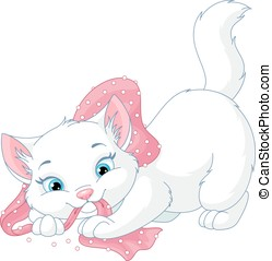 Playful Kitten - Cute cat playing on a white background