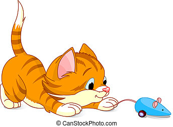 Playful Kitten - Image of kitten playing with toy mouse