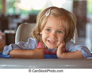 Playful little girl - Portrait of playful little girl