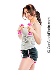 playful look athlete with dumbbells