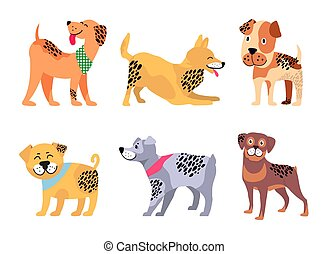Playful Padigree Dogs with Unusual Fur Color Set - Kind...