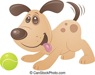Playful Puppy - Vector cartoon style drawing of a playful...