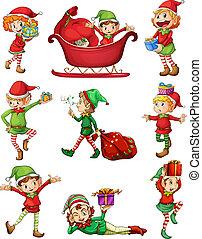 Playful Santa elves - Illustration of the playful Santa...