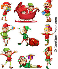 Playful Santa elves - Illustration of the playful Santa...