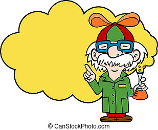 Playful Scientist - Cartoon of a scientist holding a flask...
