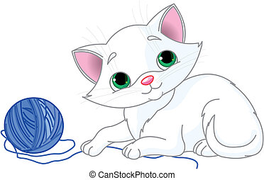Playful White Kitten - White kitten playing with a ball of ...