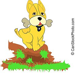 Playful yellow dog, bone in the teeth, cartoon on a white background. vector