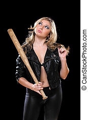 Playful young blonde with a bat