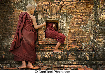 Playful young novice monks