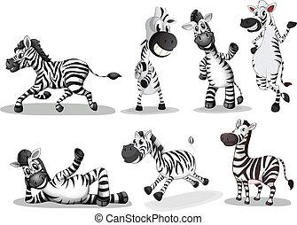 Playful zebras - Illustration of the playful zebras on a...