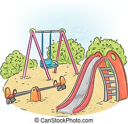 Playground - A children's playground with swings and sand.