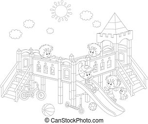 Playground - Black and white vector illustration of little...
