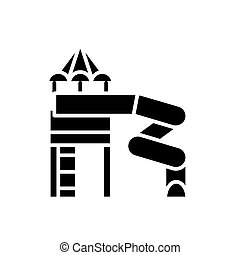 Playground black icon concept. Playground flat  vector symbol, sign, illustration.