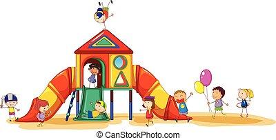 Playground - Children having fun at the playground