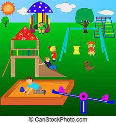 Playground - Children playing in the sunny weather, the ...
