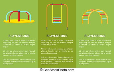 Playground Colorful Set of Posters Vector Illustration