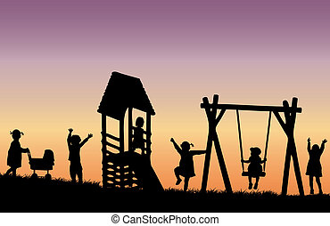 playground., enfants