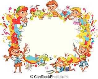 playground., enfants, peinture, résumé, résumé, couleur, éclaboussure