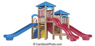 Playground equipment with slides - Chilrens wooden ...