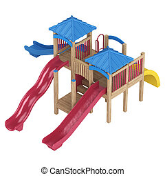 Playground equipment with slides - Chilrens wooden...