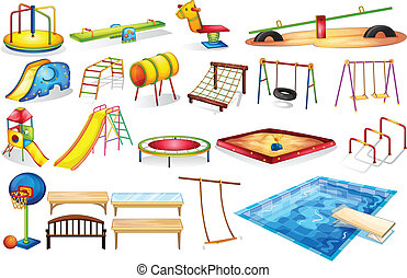 Playground equipments - Ilustration of a set of equipment in...