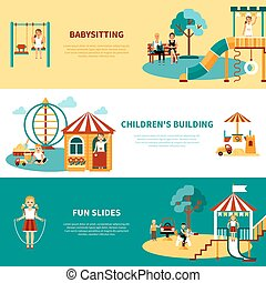 Flat horizontal banners with title and descriptions of playground equipment babysitting childrens building slides vector illustration