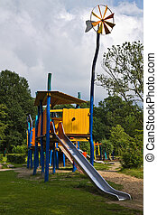 Playground for children with slidings