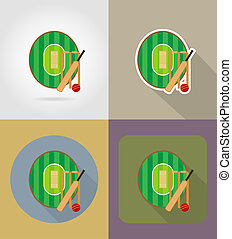 playground for cricket flat icons illustration