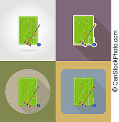 playground for croquet flat icons illustration