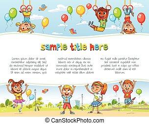 playground., heureux, enfants, tenue, vide, affiche