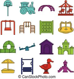 Playground icons doodle set