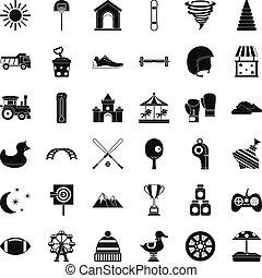 Playground icons set, simple style