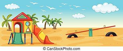 Playground - Illustration of a playground on the beach